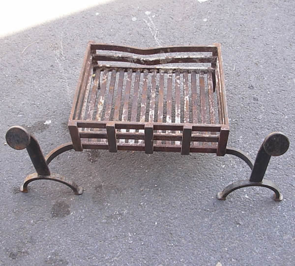 Old Iron Fire Grate with Dogs