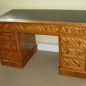 Antique Satin Birch Pedestal Desk