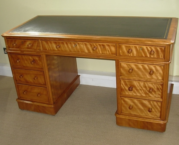 Antique Satin Birch Pedestal Desk