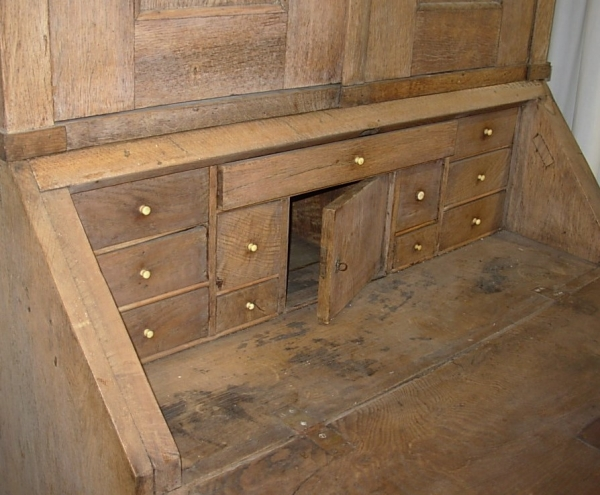Bleached Oak Bureau Bookcase