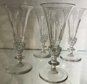 Set Four Vintage Champagne Flutes
