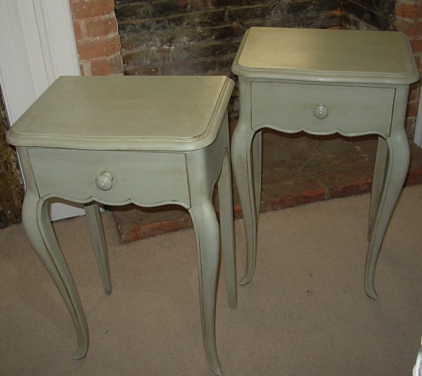 Pair French Painted Bedside Cabinets