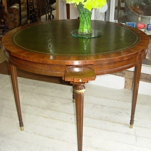 Vintage Leather Top Card Table