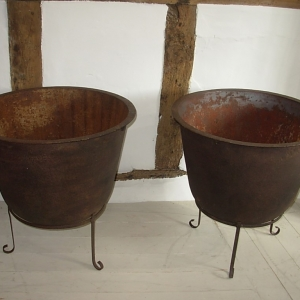 Pair of Vintage Iron Cauldrons