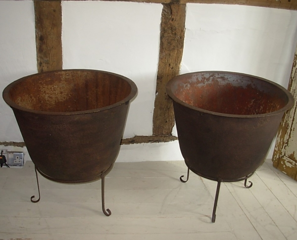 Pair of Vintage Iron Cauldrons