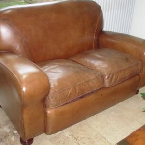 Art DecoStyle Leather Sofa