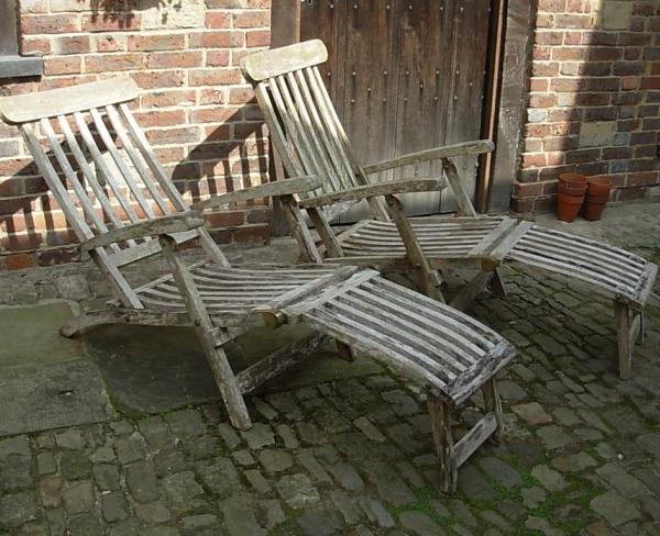 Pair Vintage Steamer Garden Chairs