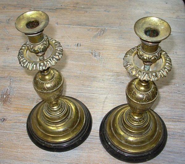 Pair 19thc Gilt Bronze Candlesticks