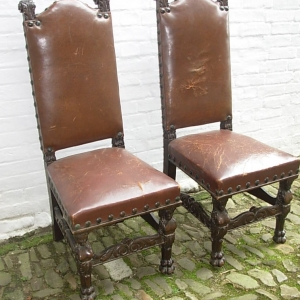 Pair Flemish Oak Chairs
