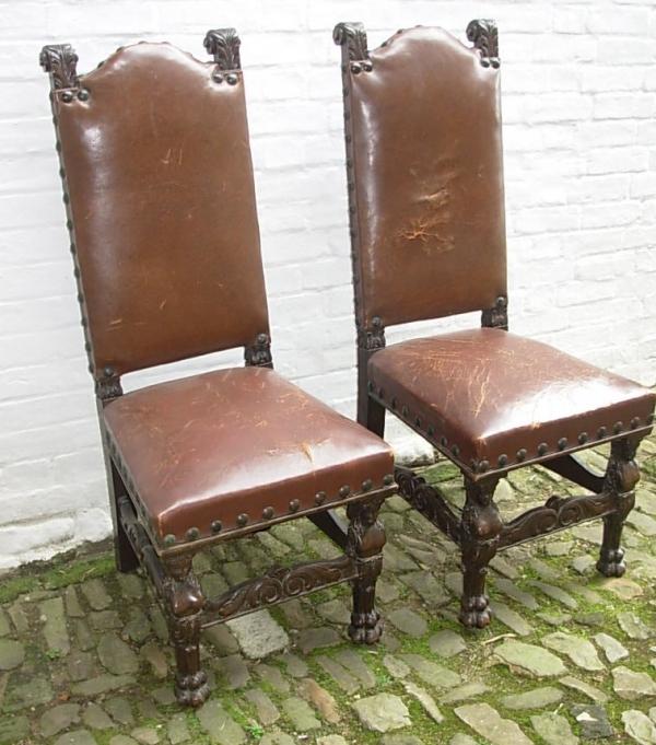 Pair Flemish Oak Chairs