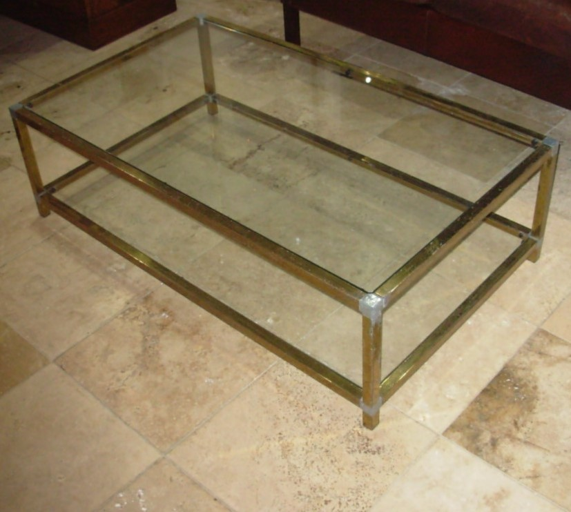Vintage Brass And Glass Coffee Table Tudor Rose Antiques